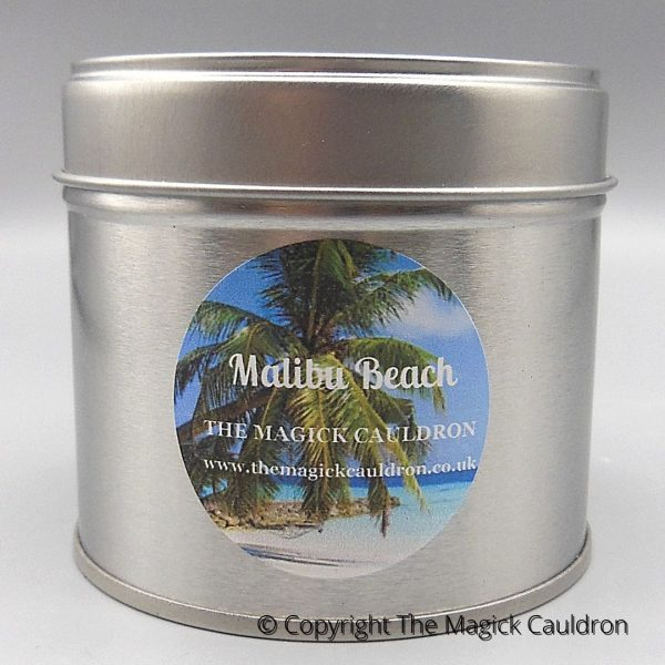 Malibu Beach Tin Candle, Coconut Scented Candles from The Magick Cauldron