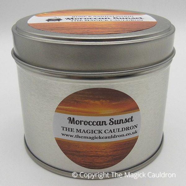 Moroccan Sunset Tin Candle, Rose Scented Candle from The Magick Cauldron