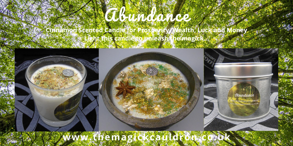 Wiccan/Pagan Candle Ranges, Abundance Cinnamon Scented Candles from The Magick Cauldron