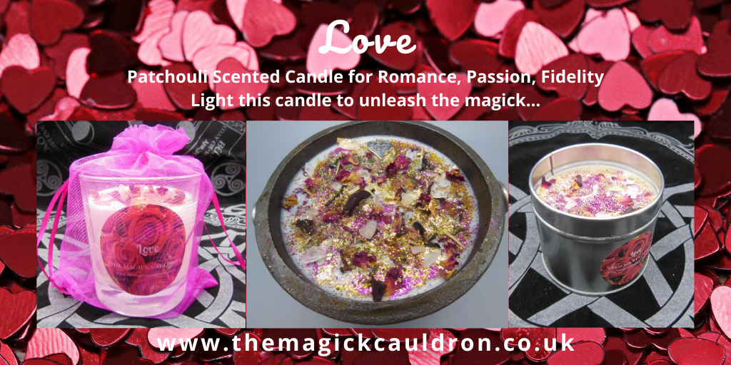 Wiccan/Pagan Candle Ranges, Love Patchouli Scented Candles from The Magick Cauldron