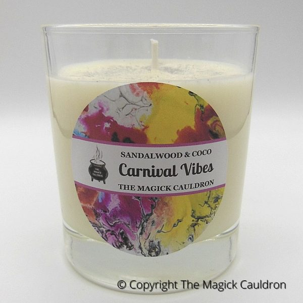 Carnival Vibes Jar Candle, Sandalwood & Coco Scented Candle from The Magick Cauldron