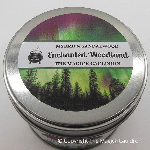 Enchanted Woodland Tin Candle, Myrrh & Sandalwood Scented Candle from The Magick Cauldron