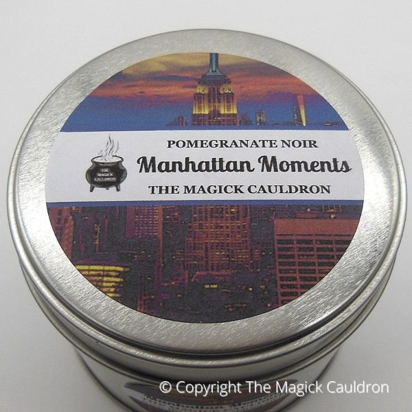 Manhattan Moments Tin Candle, Pomegranate Noir Scented Candle from The Magick Cauldron